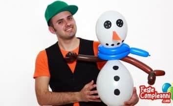 Palloncino Pupazzo di Neve - sculture con palloncini